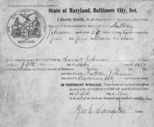 Example of manumission certificate
