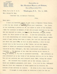 Letter from Sereno Payne Harriet Tubman compensation1